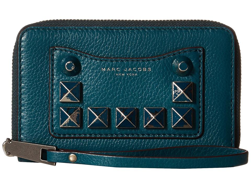 Marc Jacobs - Recruit Chipped Studs Zip Phone Wristlet (Teal) Wristlet Handbags