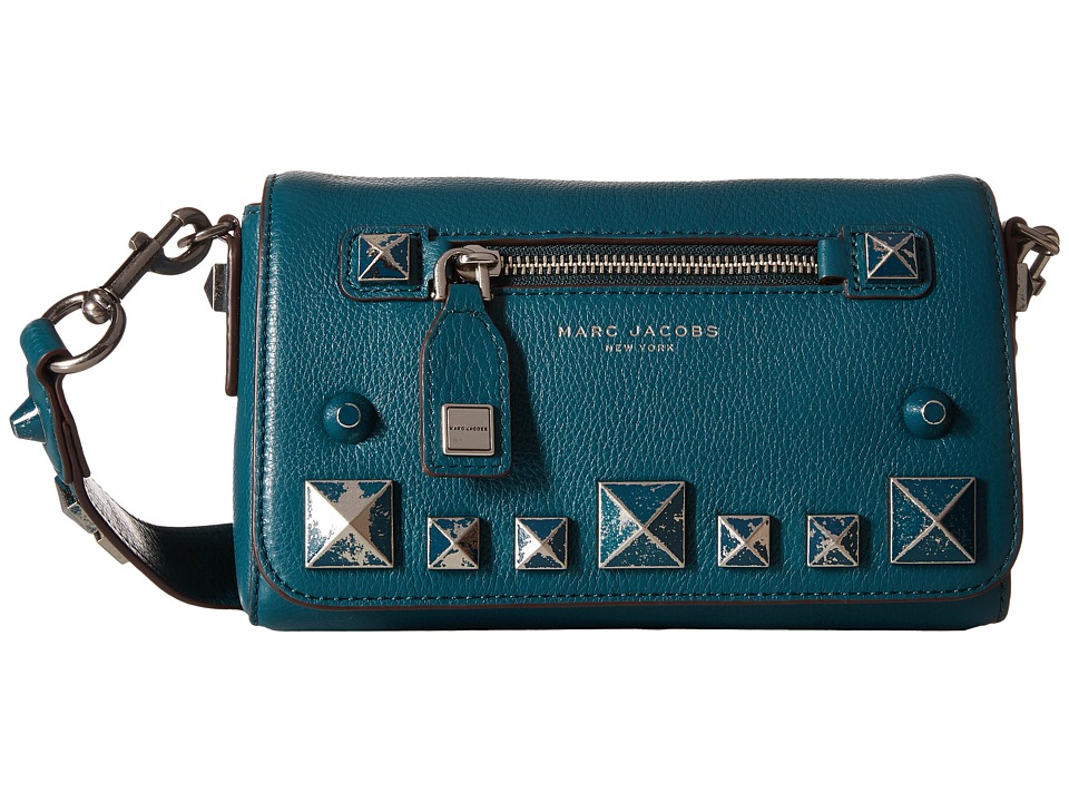 Marc Jacobs - Recruit Chipped Studs Shoulder Bag (Teal) Shoulder Handbags