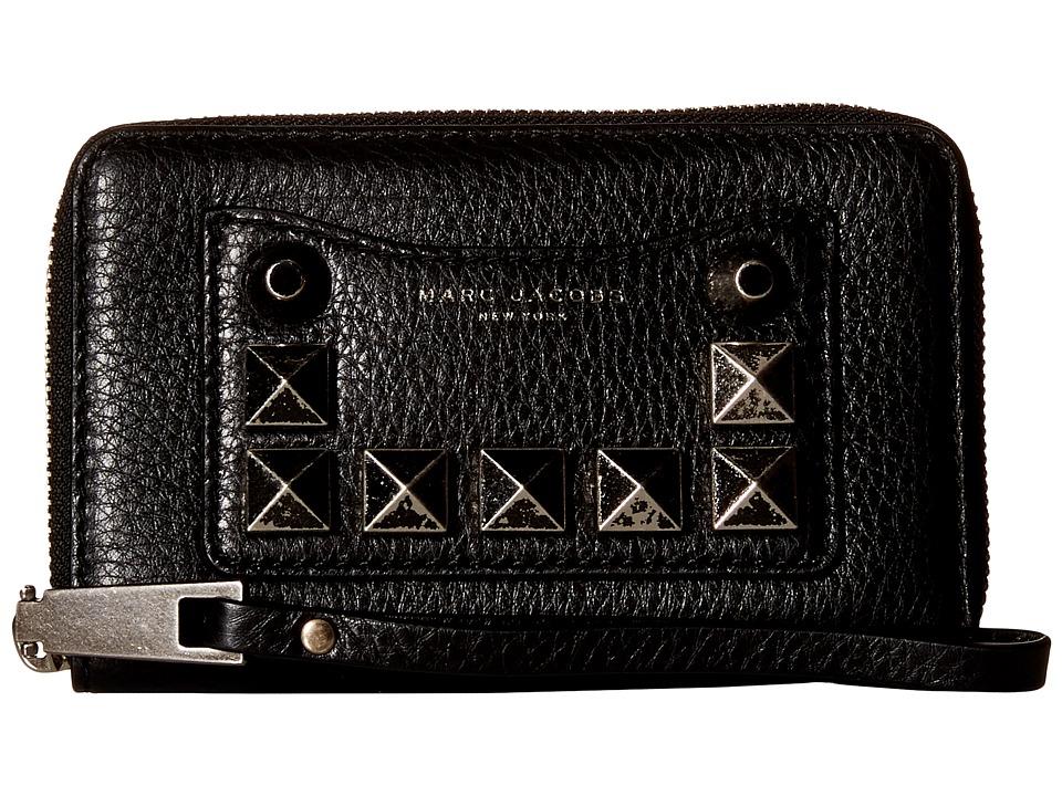 Marc Jacobs - Recruit Chipped Studs Zip Phone Wristlet (Black) Wristlet Handbags