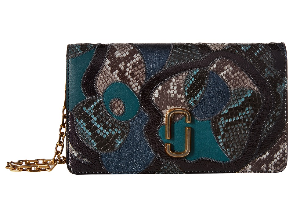 Marc Jacobs - J Marc Snake Patchwork Wallet On Chain (Teal Multi) Wallet Handbags