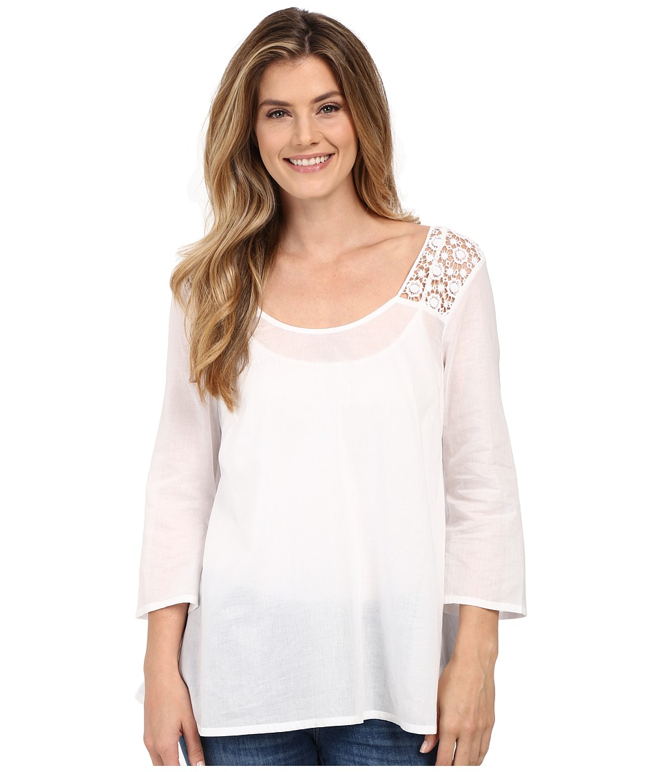 Stetson - Solid Voile Long Sleeve Peasant Top (White) Women's Blouse