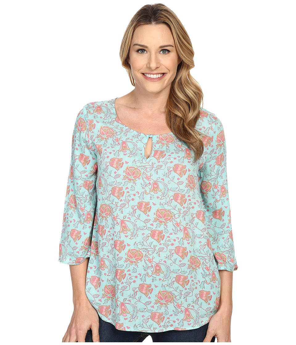 Stetson - Tulip Print Long Sleeve Peasant Top (Blue) Women's Blouse