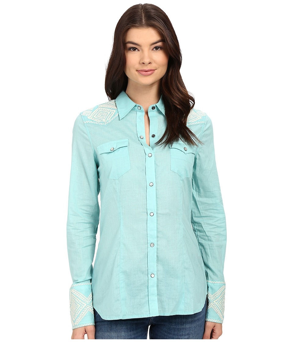 Stetson - Solid Lawn Long Sleeve Western Shirt (Blue) Women's Clothing