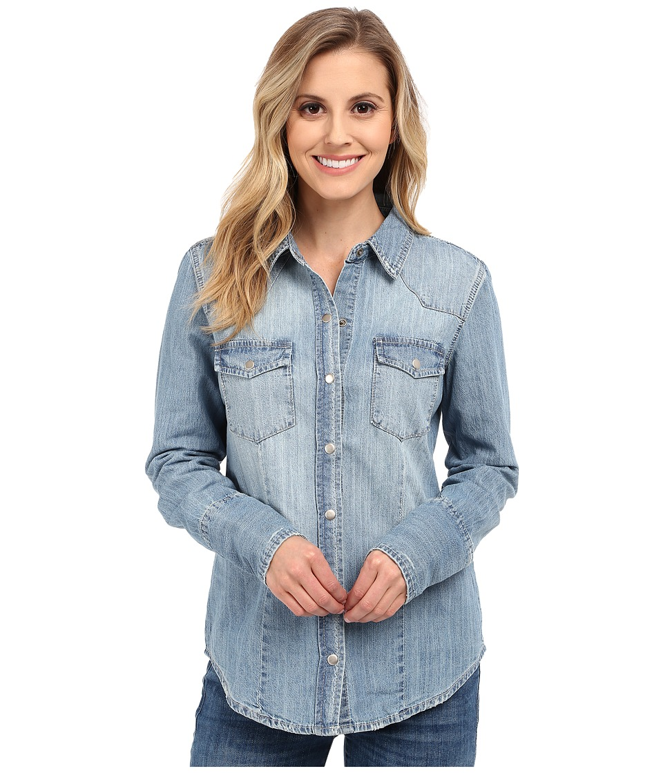 Stetson - Light Blue Denim Long Sleeve Western Shirt (Blue) Women's Clothing
