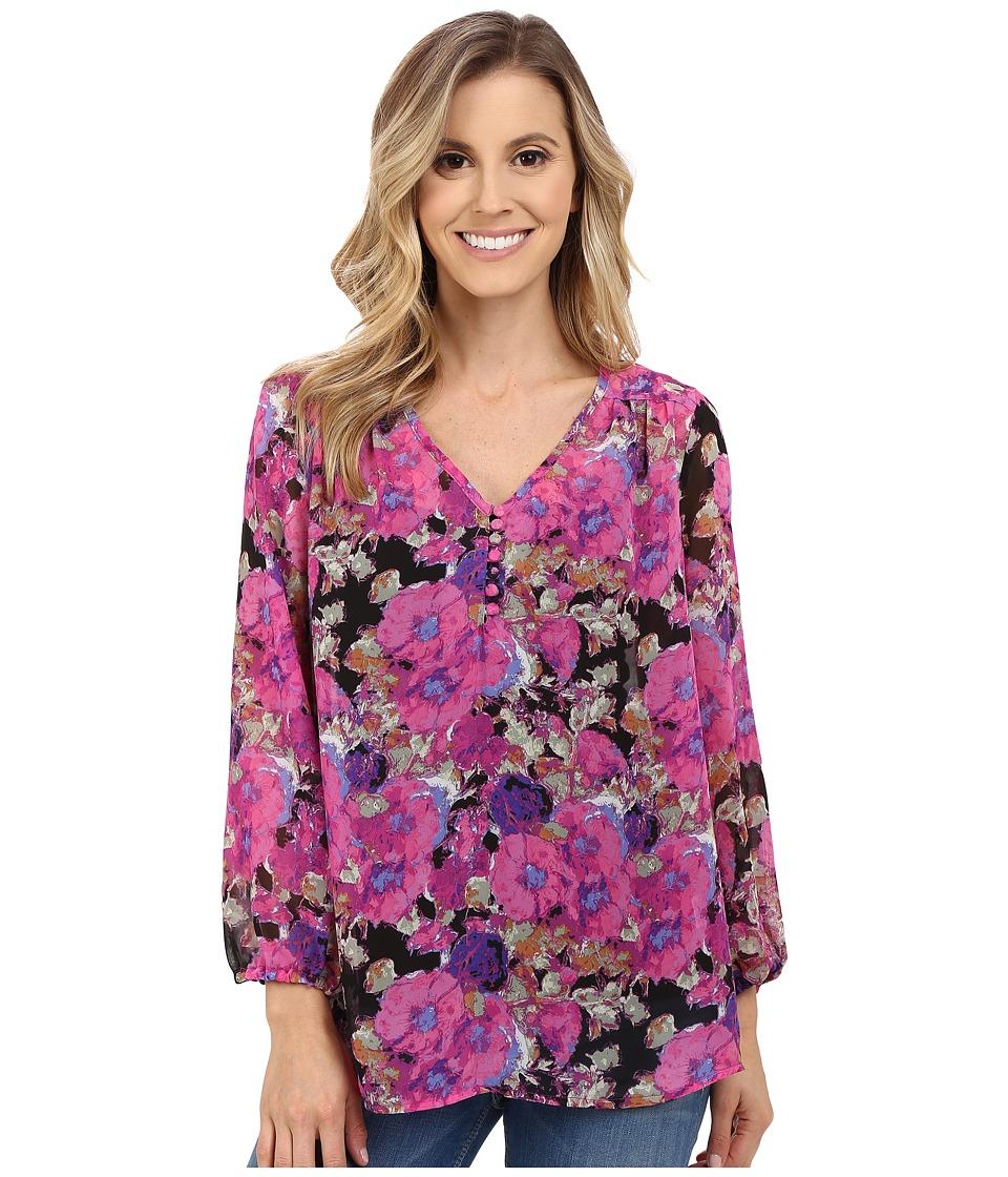 Stetson - Floral Print Poly Chiffon Long Sleeve Blouse (Pink) Women's Blouse