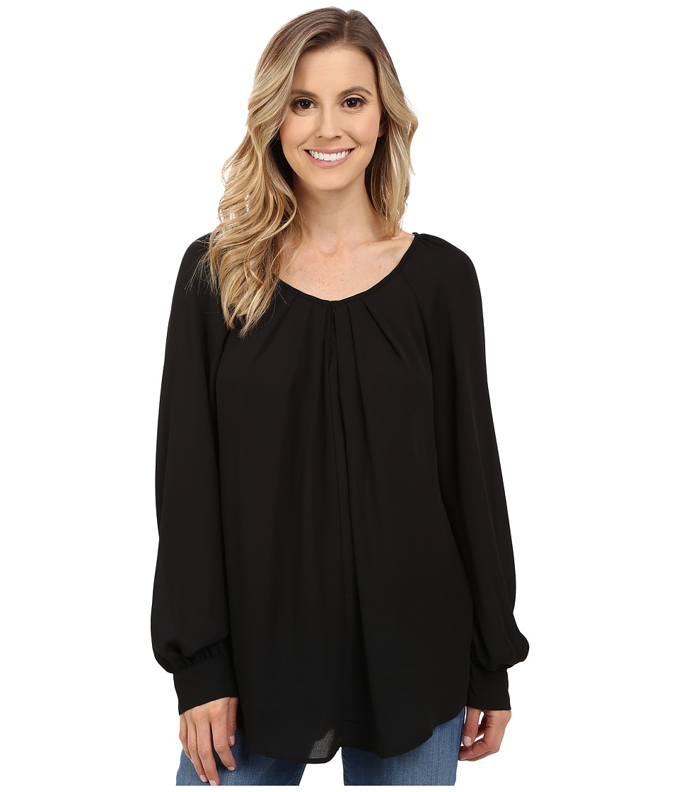 Stetson - Solid Crepe Long Sleeve Peasant Blouse (Black) Women's Blouse