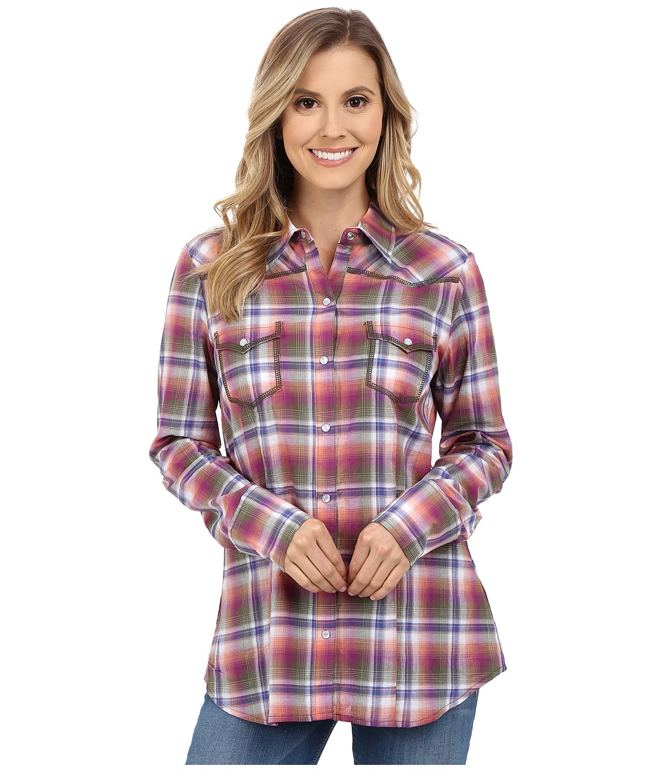 Stetson - Orchid Plaid Long Sleeve Western Shirt (Purple) Women's Clothing