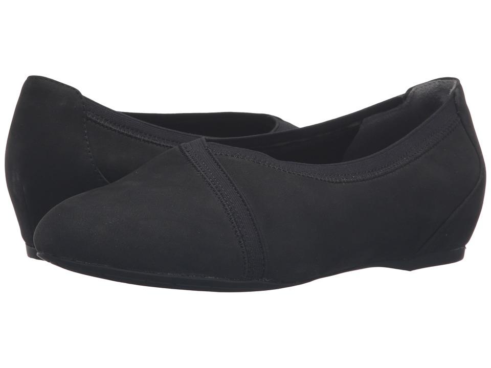 Rockport - Total Motion Envelope Flat (Black Nubuck) Women's Slip on Shoes