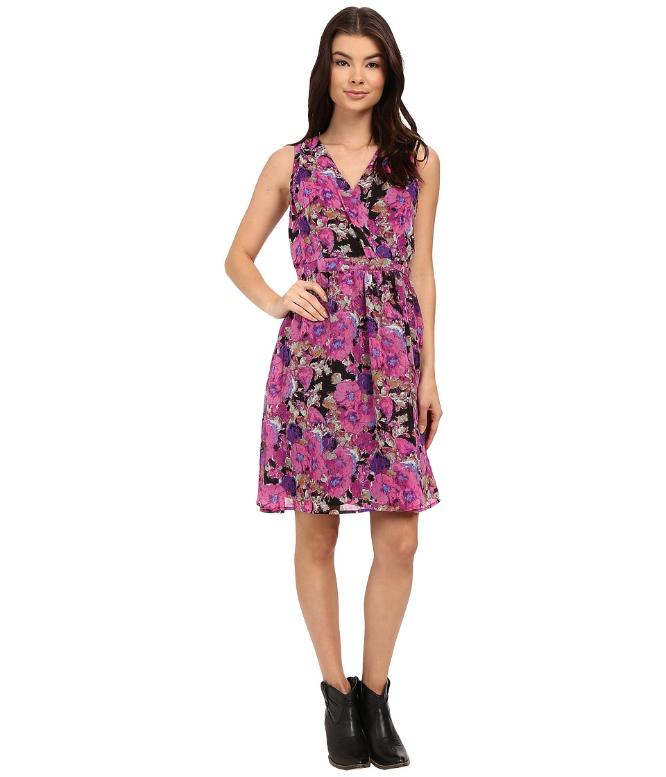 Stetson - Floral Print Poly Chiffon Dress (Pink) Women's Dress