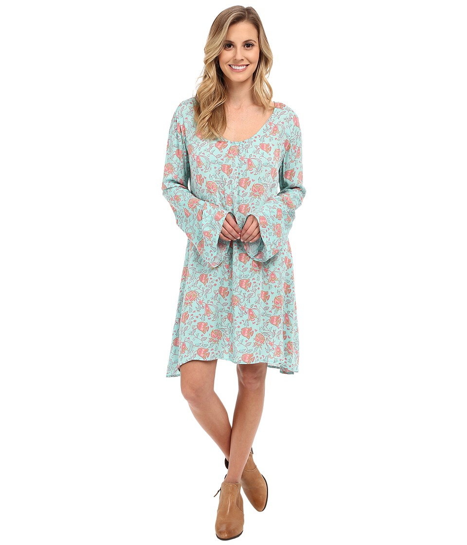 Stetson - Tulip Print Peasant Style Dress (Blue) Women's Dress
