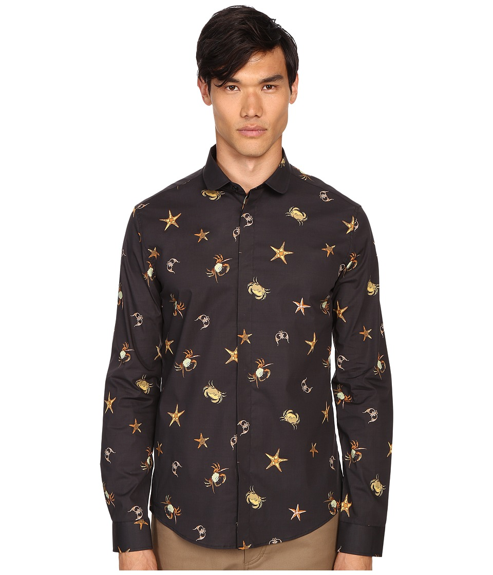 Versace Collection - Sea Creature Long Sleeve Button Up (Print Black) Men's Short Sleeve Button Up