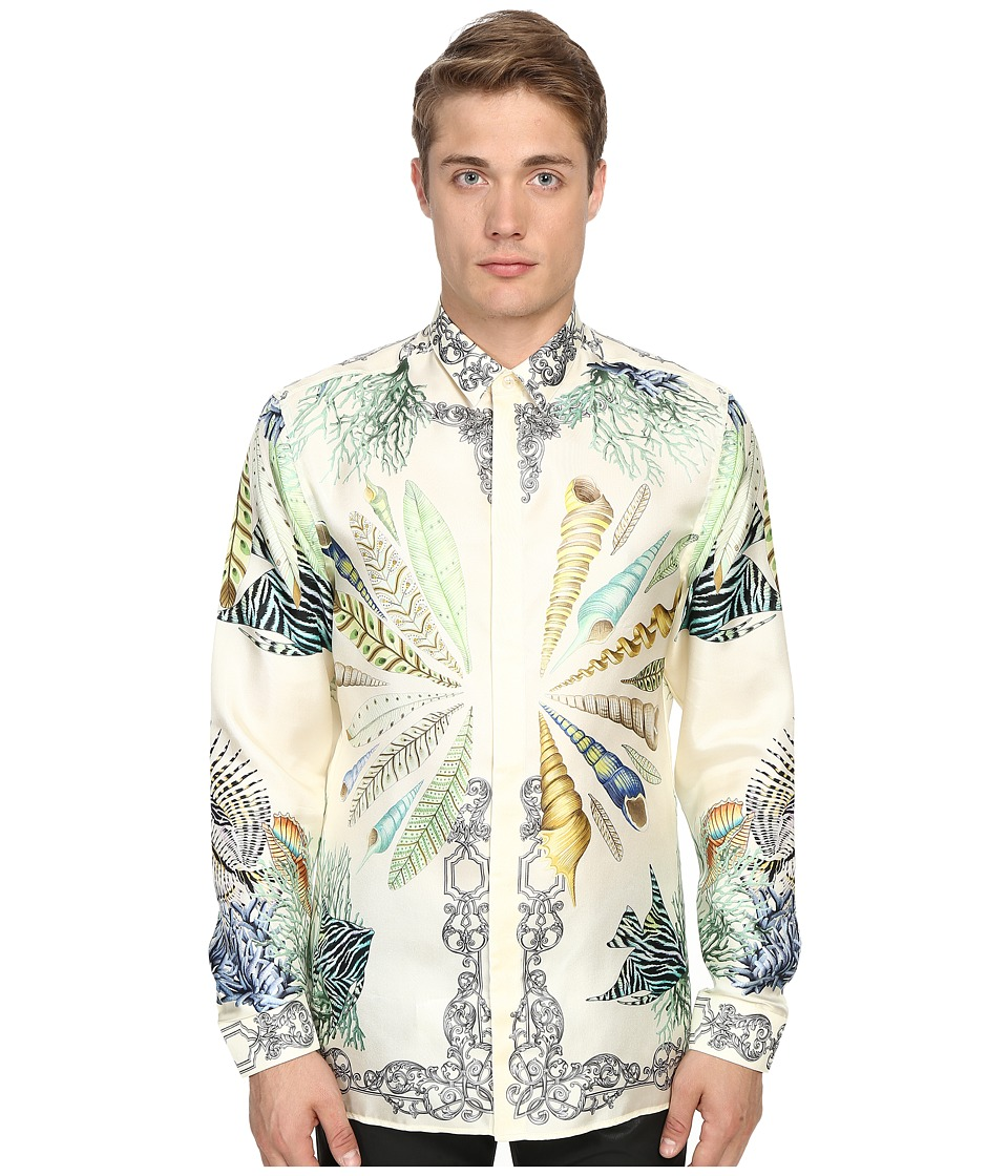 Versace Collection - Conch Shell Silk Button Up (Print White) Men's Long Sleeve Button Up