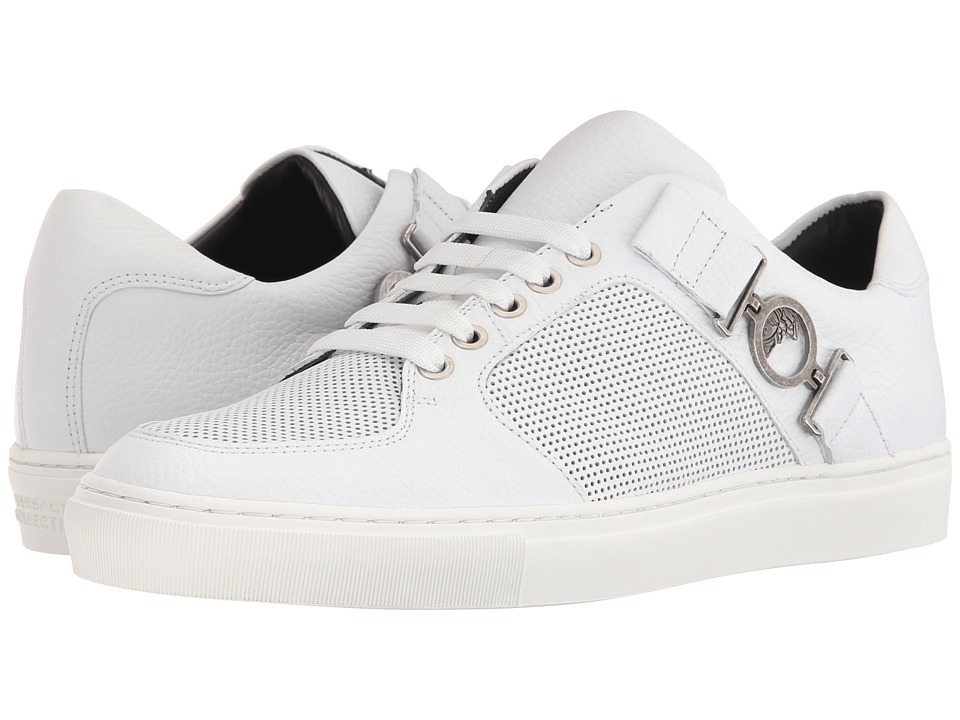 Versace Collection - Leather and Perforated Side-Medallion Sneaker (White/Antique Nickel) Men's Shoes