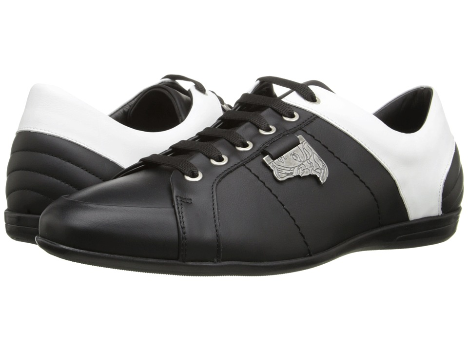 Versace Collection - Half-Medusa Medallion Sneaker (Black/White/Antique Nickel) Men's Shoes