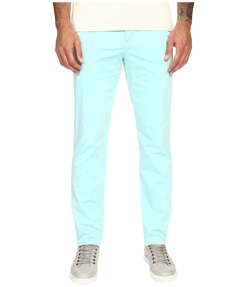 Versace Collection - Front Pleat Stretch Chino Pants (Aqua) Men's Casual Pants