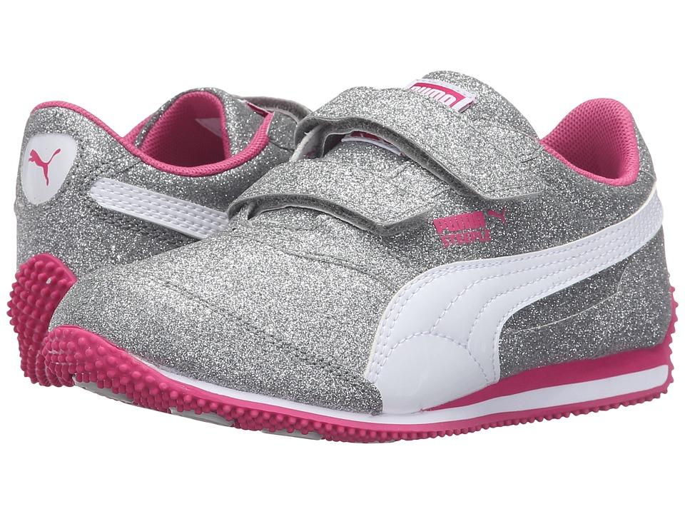 Puma Kids Steeple Glitz Glam V PS (Little Kid/Big Kid) (Puma Silver/Puma White/Fuchsia Purple) Girls Shoes