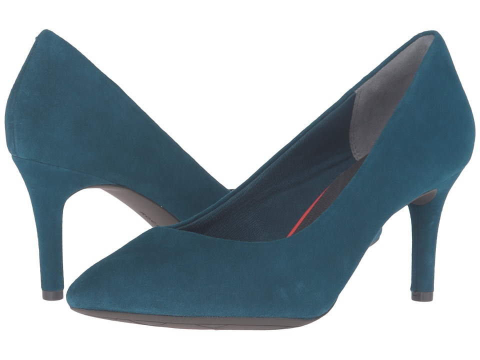 Rockport - Total Motion 75mm Pointy Toe Pump (Rich Teal Kid Suede) High Heels