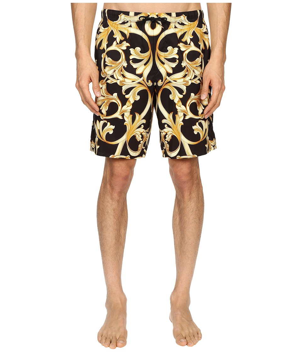 Versace - Baroque Nylon Long Trunk (Black/Gold) Men's Underwear