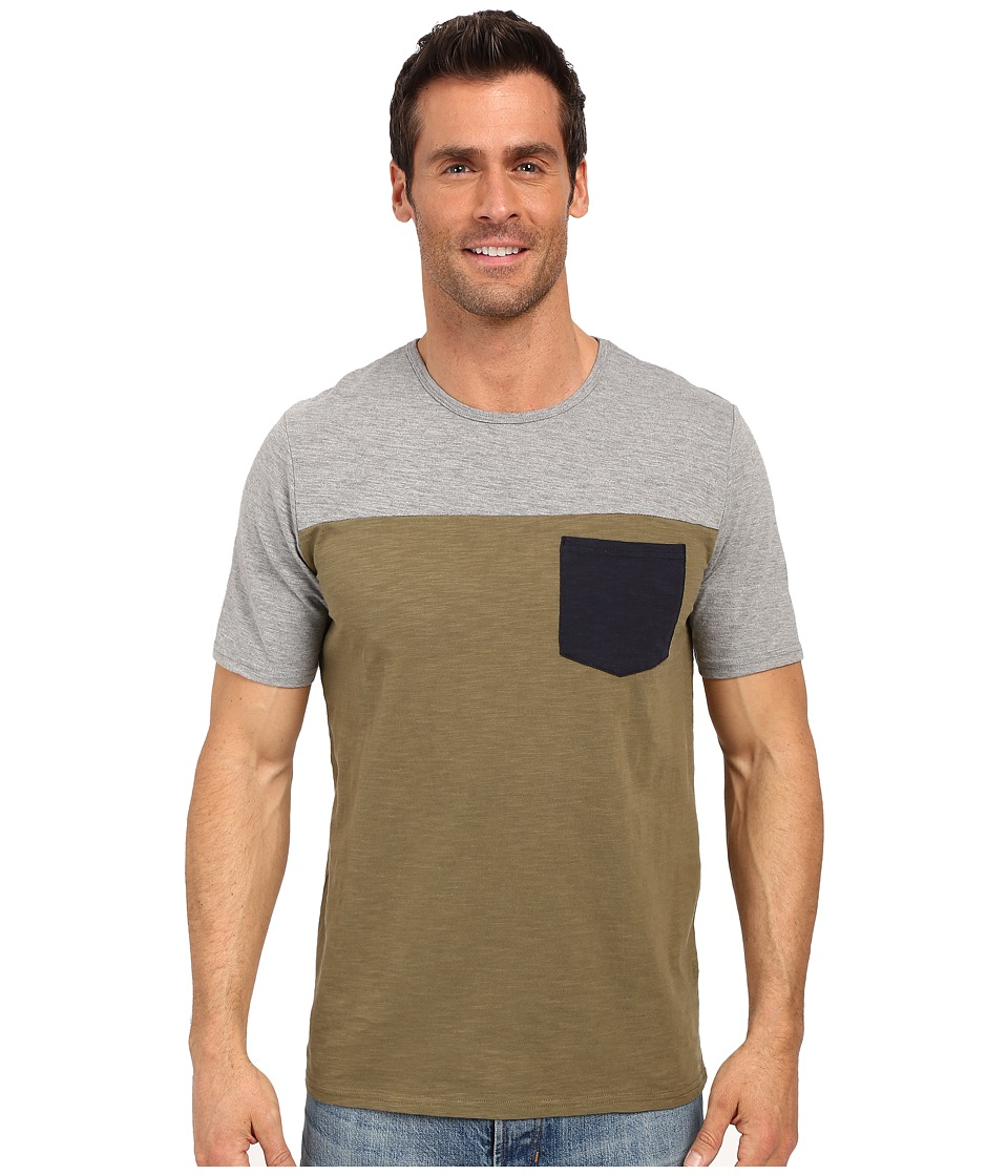 United By Blue - Color Block Short Sleeve Shirt (Gray/Green) Men's Clothing