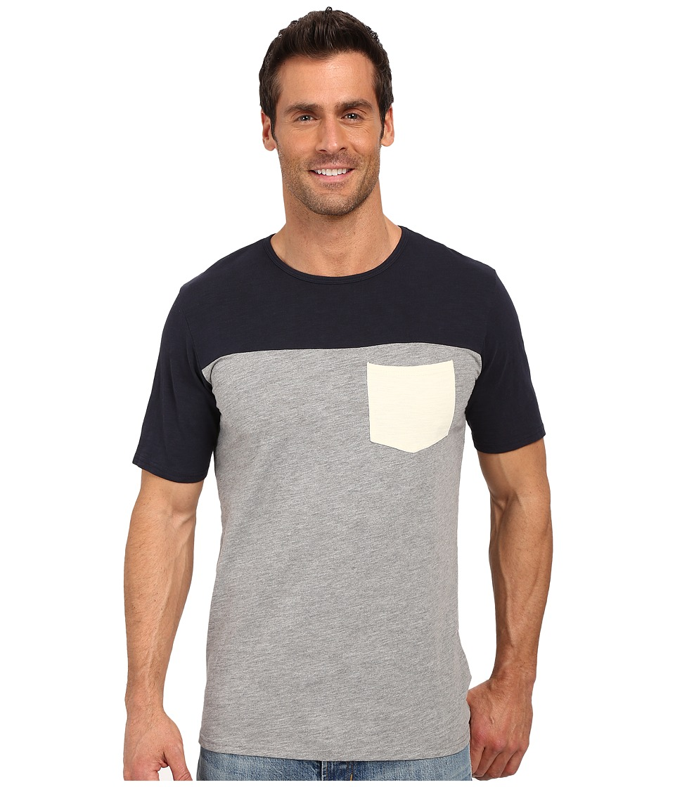 United By Blue - Color Block Short Sleeve Shirt (Navy/Grey) Men's Clothing