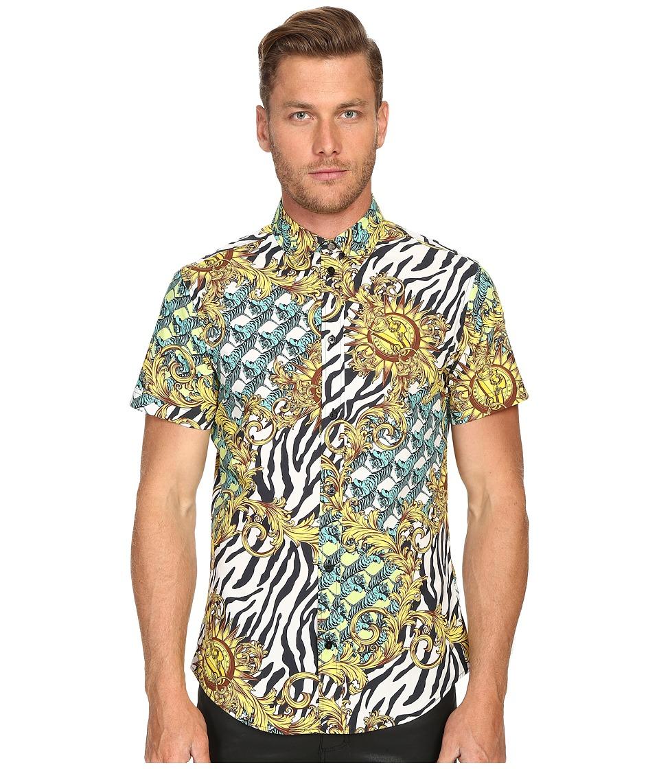 Versace Jeans - All Over Baroque Tiger Print Short Sleeve Button Up (Gold Melange) Men's Short Sleeve Button Up