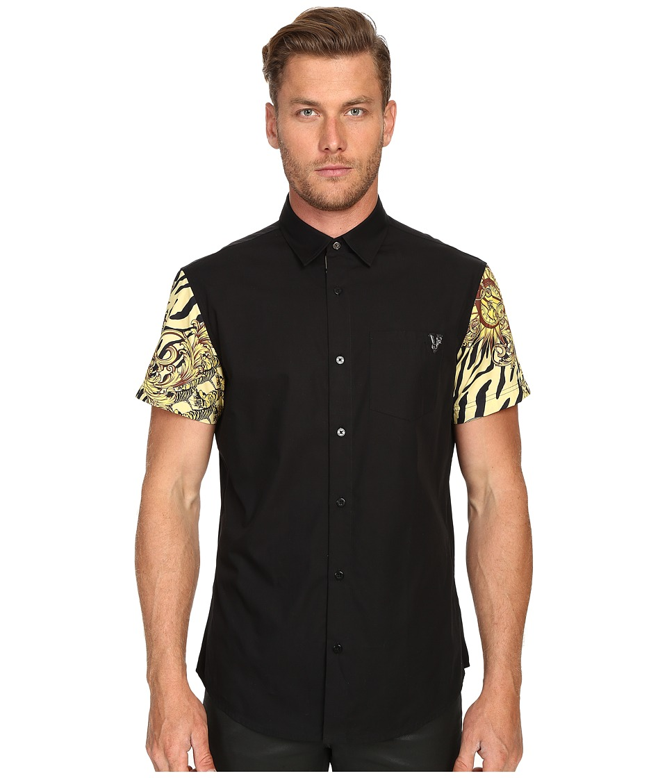Versace Jeans - Baroque Tiger Print Sleeves Short Sleeve Button Up (Black) Men's Short Sleeve Button Up