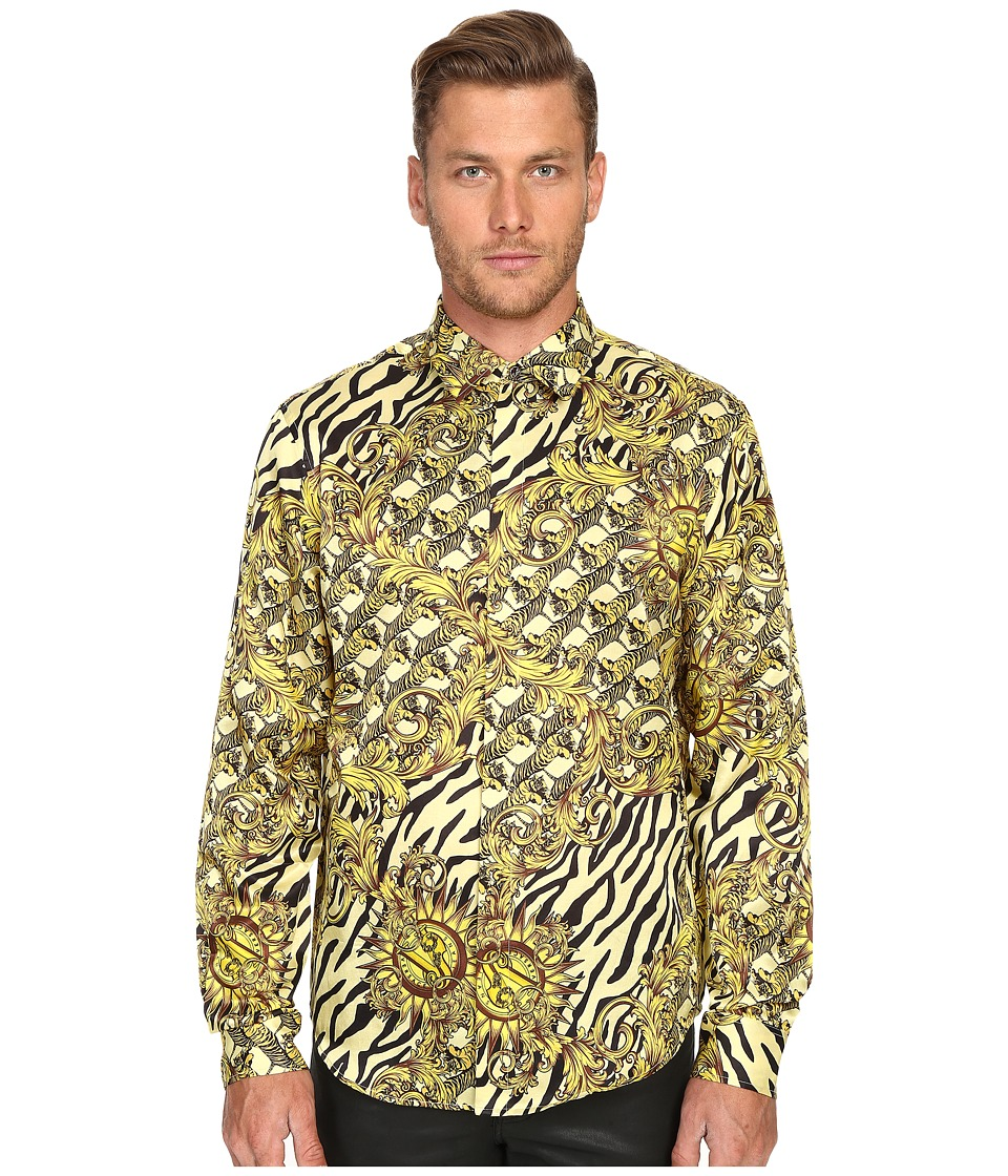 Versace Jeans - All Over Baroque Tiger Print Long Sleeve Button Up (Gold Melange) Men's Long Sleeve Button Up