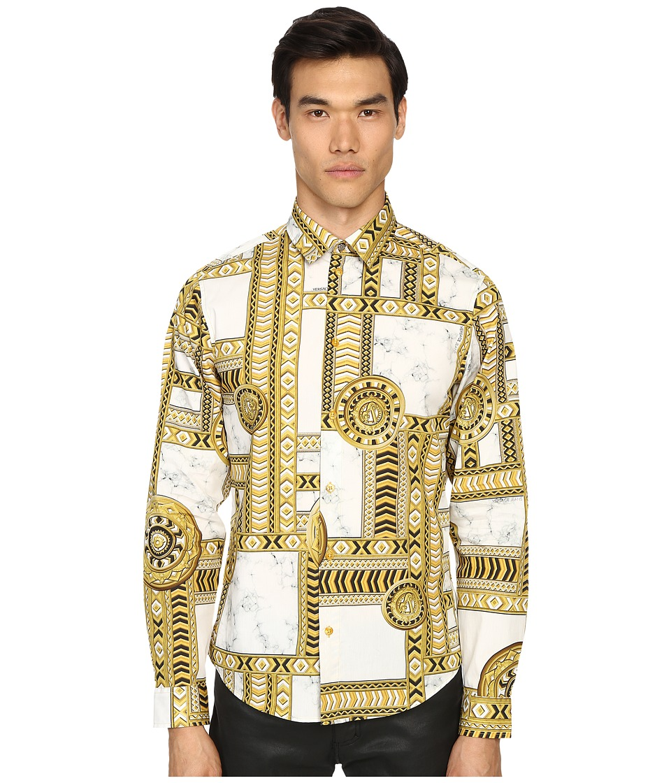 Versace Jeans - Marbled Kaleidoscope Print Long Sleeve Button Up (White/Gold) Men's Long Sleeve Button Up
