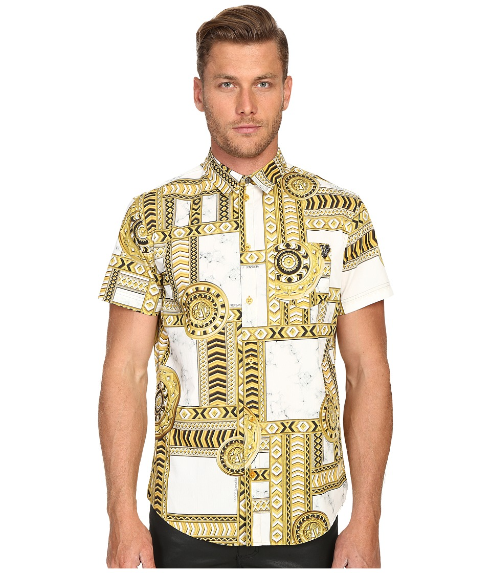 Versace Jeans - Marbled Kaleidoscope Print Short Sleeve Button Up (White/Gold) Men's Short Sleeve Button Up