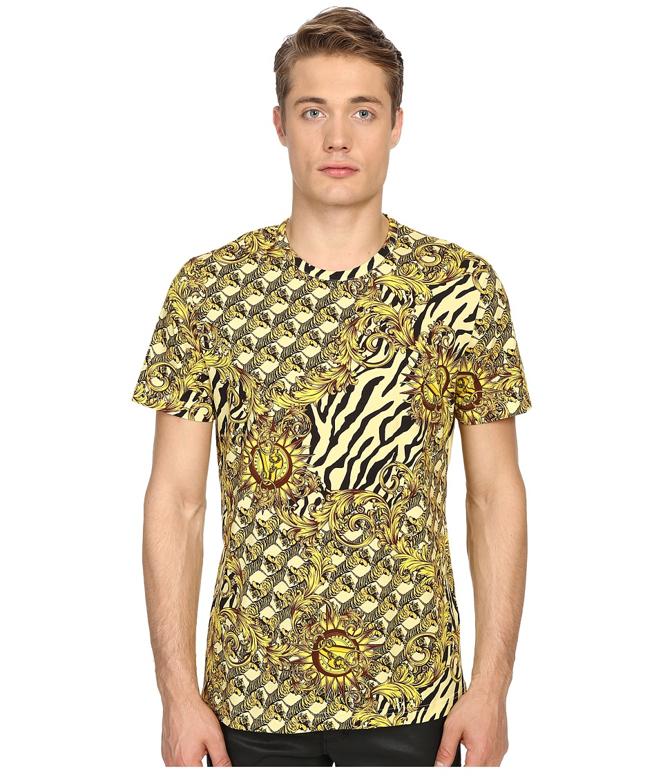 Versace Jeans - All Over Baroque Tiger Print T-Shirt (Gold Melange) Men's Short Sleeve Pullover