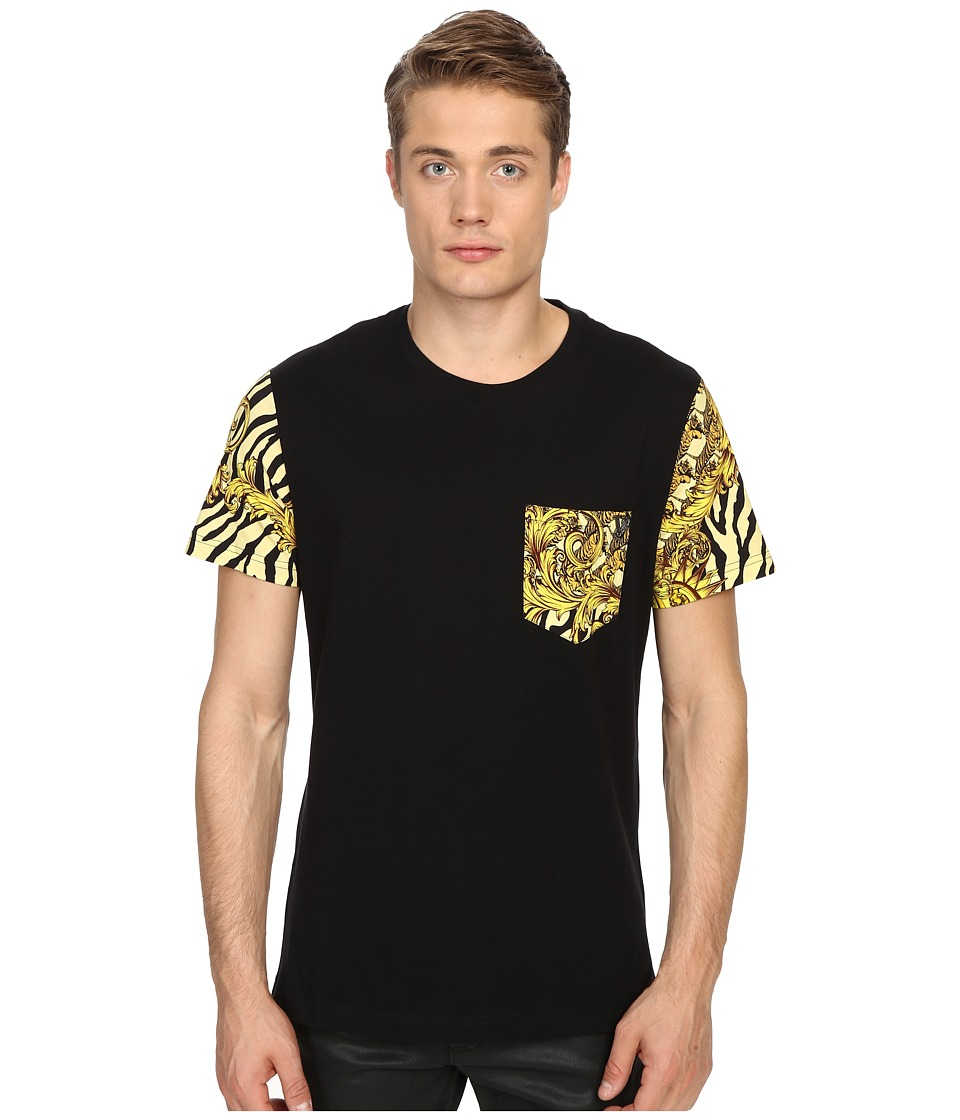 Versace Jeans - Baroque Tiger Print Pocket T-Shirt (Gold Melange) Men's Short Sleeve Pullover