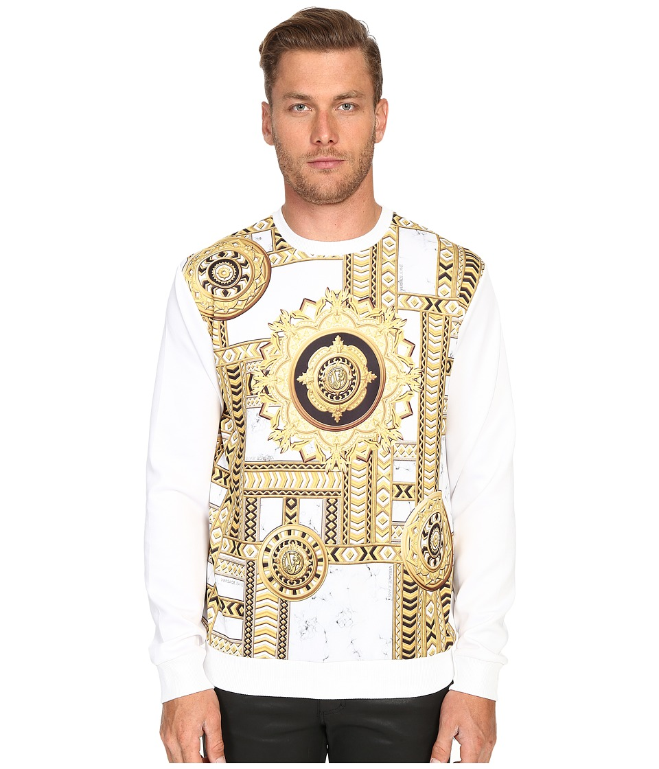 Versace Jeans - Marbled Kaleidoscope Print Sweatshirt (White/Gold) Men's Sweatshirt