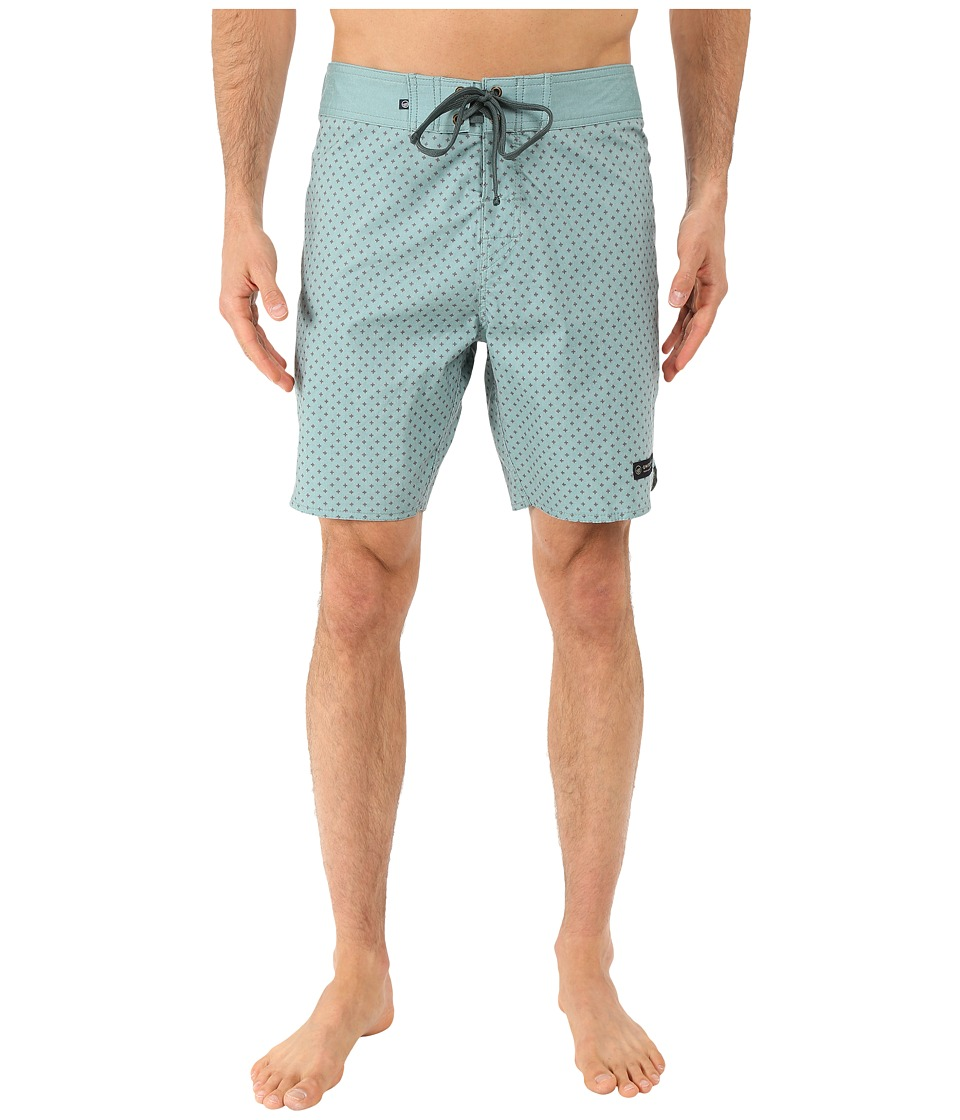 United By Blue - Confluence Scallop Boardshorts (Green) Men's Swimwear