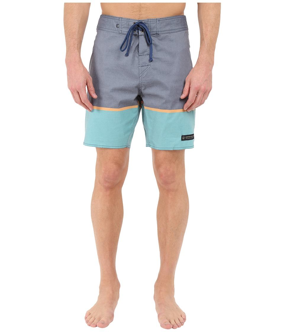 United By Blue - Clear Creek Scallop Boardshorts (Navy) Men's Swimwear