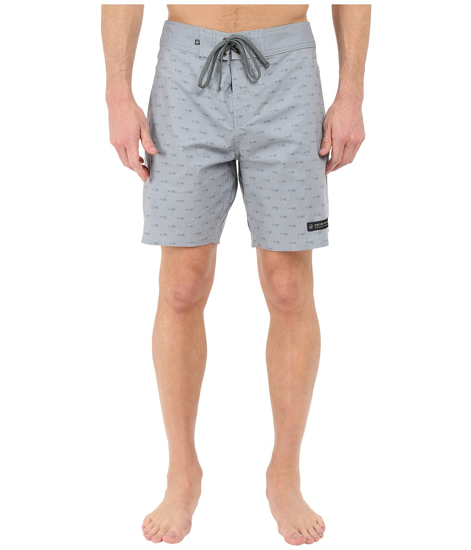 United By Blue - Longbow Scallop Boardshorts (Grey) Men's Swimwear