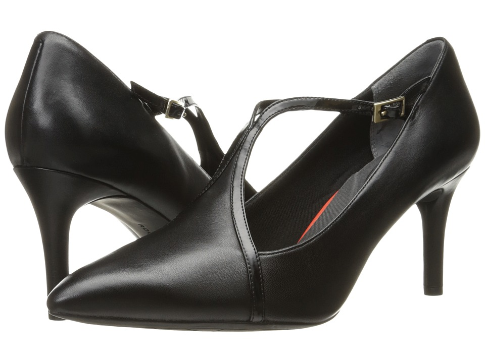 Rockport - Total Motion 75mm T-Strap (Black Leather) Women's Shoes