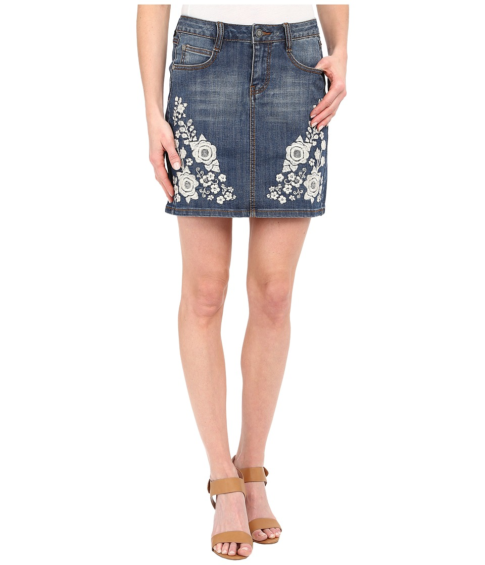 Stetson - Denim Skirt with Embroidery Embellishment (Blue) Women's Skirt