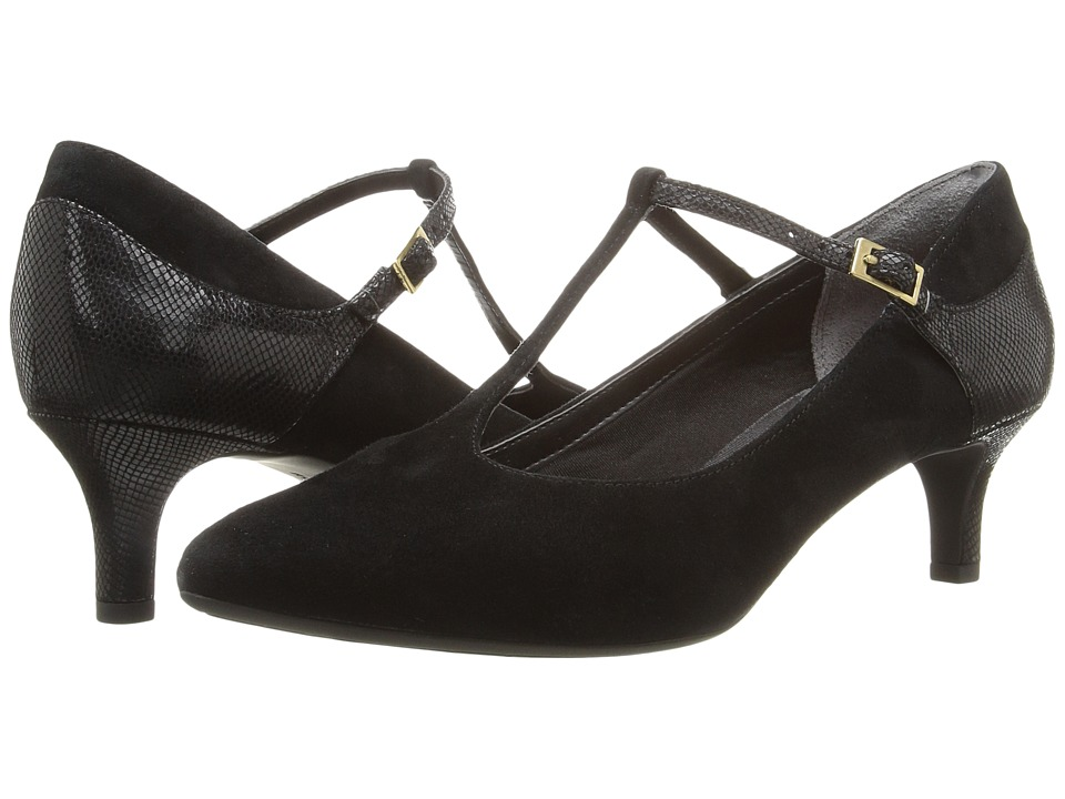 Rockport - Total Motion Kalila T-Strap (Black Kid Suede) Women's Shoes