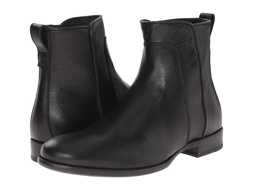 Aquatalia - Kenton (Black Textured Calf) Men's Zip Boots