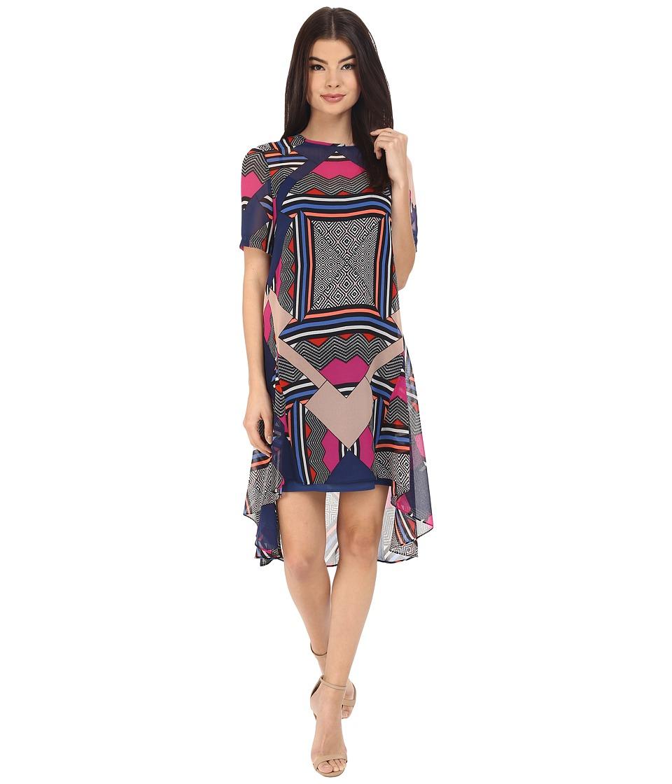 Donna Morgan - Short Sleeve Chiffon Trapeze Dress (Flux Multi) Women's Dress