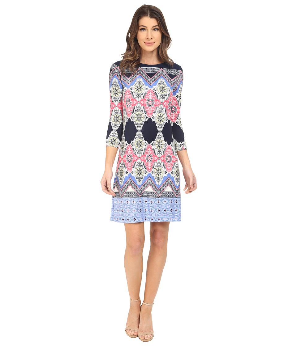 Donna Morgan - 3/4 Sleeve Printed Jersey (Midnight/Cabin) Women's Dress