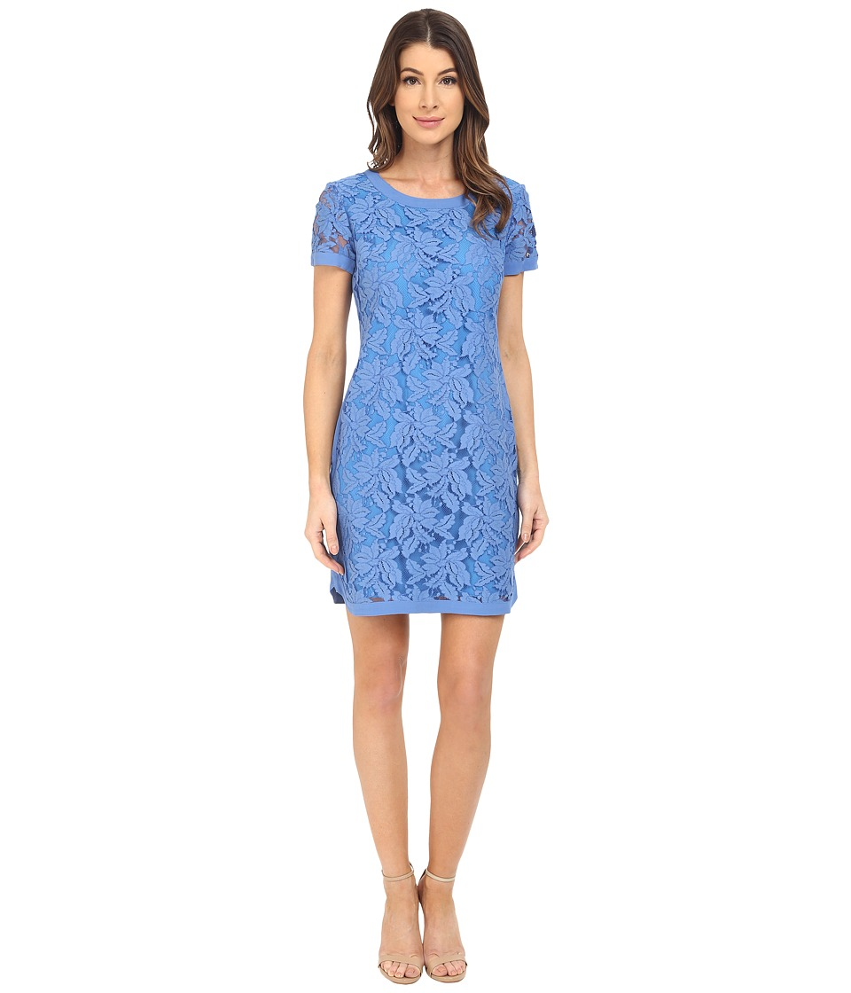 Donna Morgan - Short Sleeve Easy Shift Lace Dress with Combo (Cabin) Women's Dress
