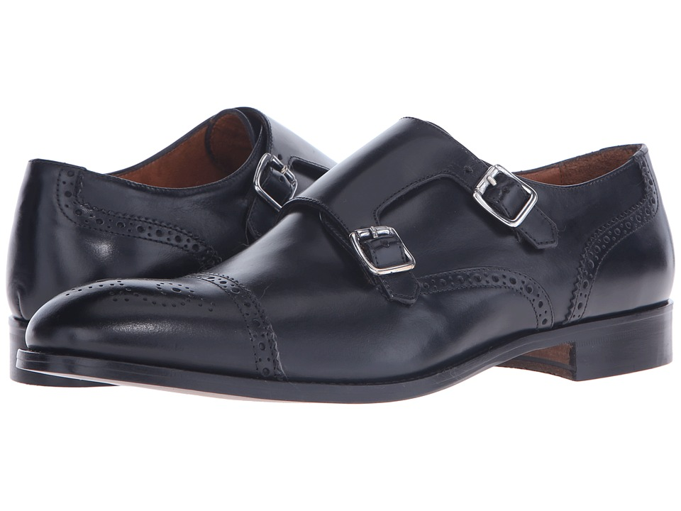 Massimo Matteo - Double Monk Cap Perf (Black) Men's Slip on Shoes