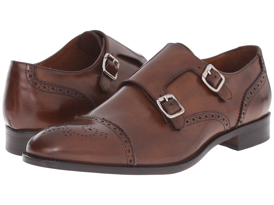Massimo Matteo - Double Monk Cap Perf (Kenia Brandy) Men's Slip on Shoes