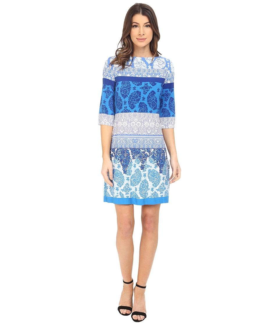 Donna Morgan - 3/4 Sleeve Lace Print Jersey Shift (Cabin Illumination) Women's Dress