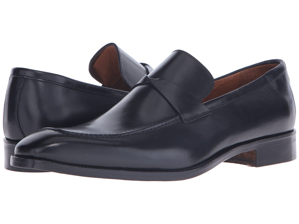 Massimo Matteo - Mocc Leather Keeper (Black) Men's Slip on Shoes