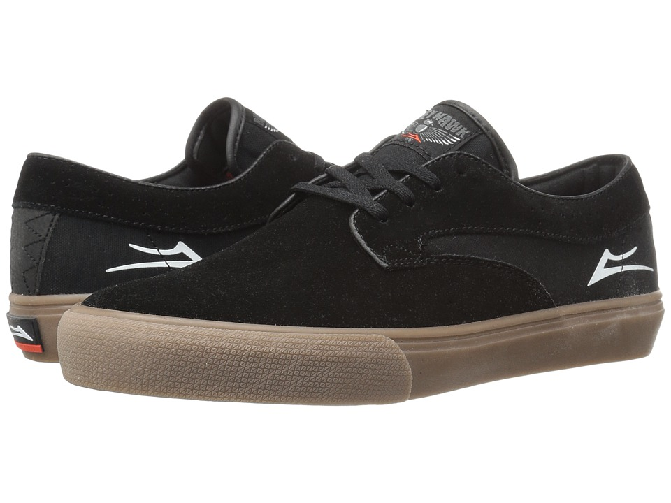 Lakai - Riley Hawk (Black/Gum Suede) Men's Skate Shoes