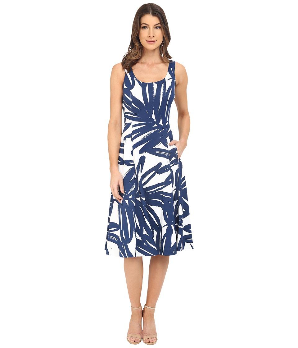 Donna Morgan - Pique Knit Sleeveless Scoop Midi Dress (Enamel/Ink) Women's Dress