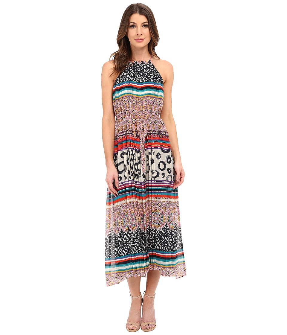 Donna Morgan - Sleeveless Chiffon Printed Midi Dress with High-Low Hem (Midnight Mulit) Women's Dress