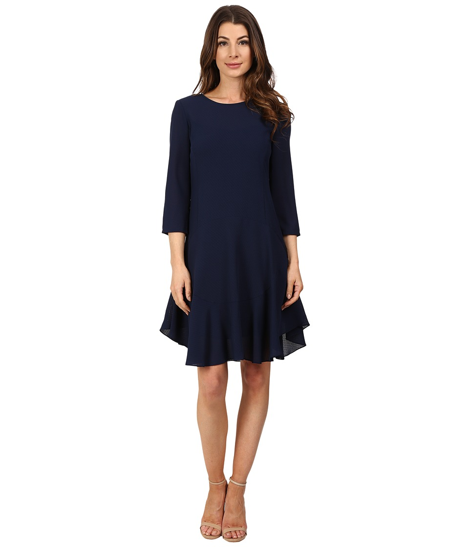 Donna Morgan - 3/4 Sleeve Novelty Woven Dress with Asymmetrical Hem (Midnight) Women's Dress